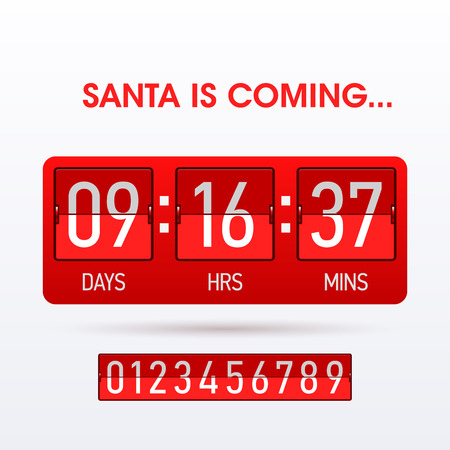 time remaining: Santa is coming. Christmas countdown timer.