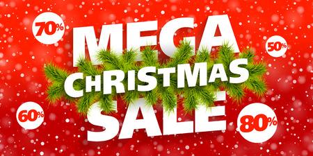 holiday shopping: Mega Christmas Sale banner Illustration