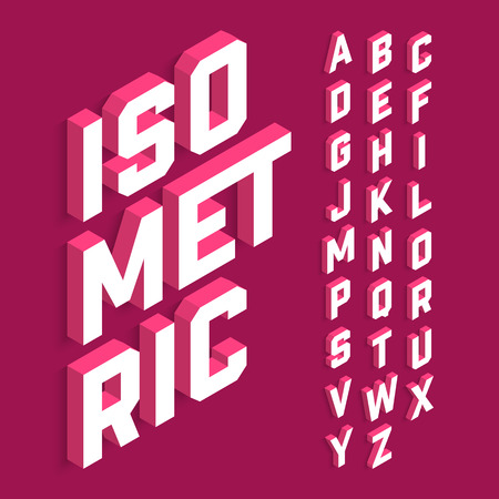 Isometric 3d font, three-dimensional alphabet letters Vectores