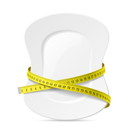 plate: Plate with measuring tape, diet theme