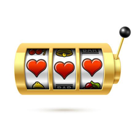 Drie gelukkige hartsymbolen op één arm bandiet gouden gokautomaat, het concept van de Dag van Valentijnskaarten