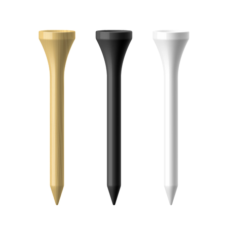 sports equipment: Woooden, black and white golf tees illustration