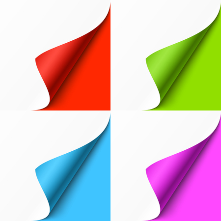 Curled colored corners set on color background
