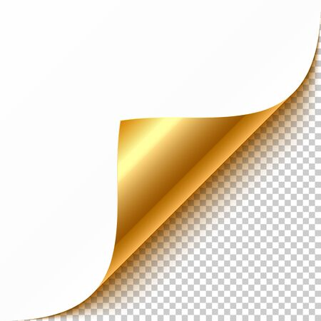 Gold curled corner with reflection and shadow on transparent background realistic illustration