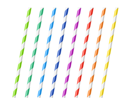 colorful straw: Striped colorful drinking straws Illustration