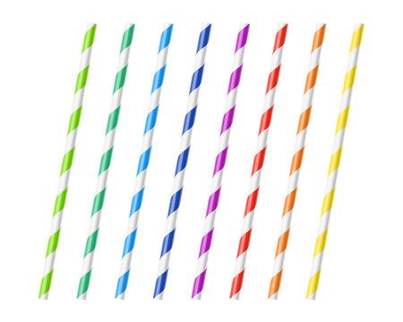 Striped colorful drinking straws Illustration