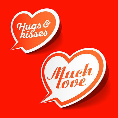 i label: Much love and hugs & kisses speech bubbles, Happy Valentines Day celebration design element