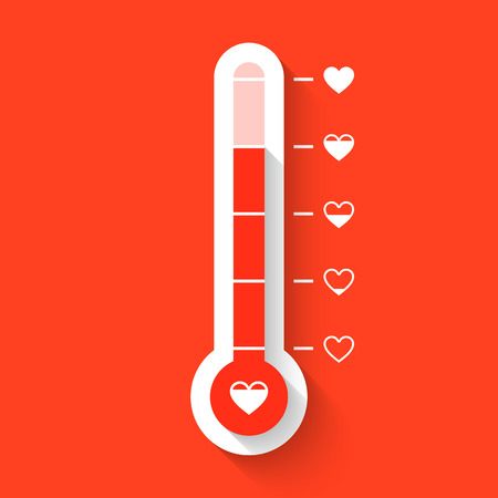 Love thermometer Valentines Day card idea Illustration