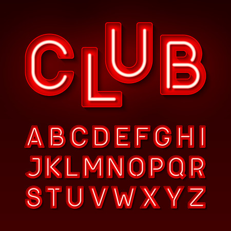 Broadway night club vintage style neon font