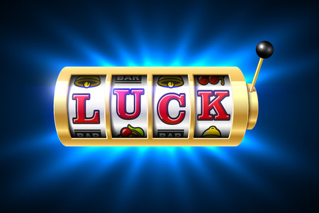 machines: Slot machine with luck word, one-armed bandit