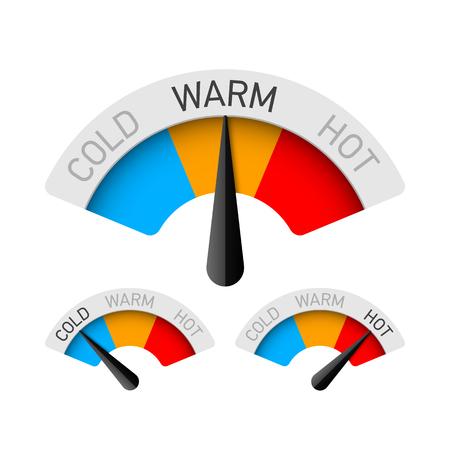 Zimny, ciepły i gorący wskaźnik temperatury