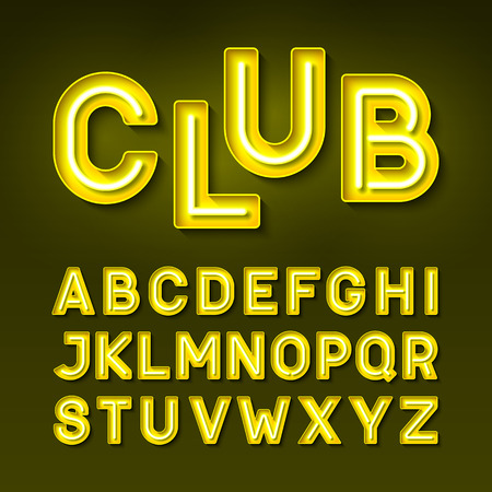 club: Broadway night club vintage style neon font