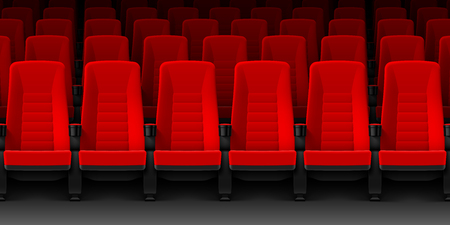 blank screen: Movie theater with rows of red empty chairs, cinema hall seats Illustration