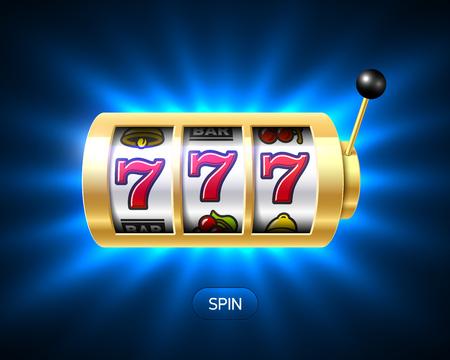 Lucky sevens jackpot, gokautomaat illustratie Stock Illustratie