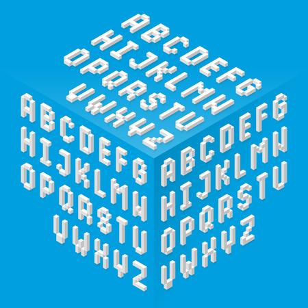 Isometrische stijl fonts ingesteld