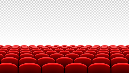Rows of red cinema movie theater seats on transparent background