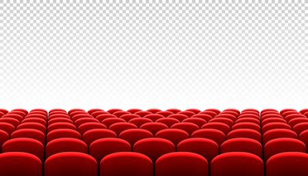 Rijen van rode bioscoopzitjes op transparante achtergrond