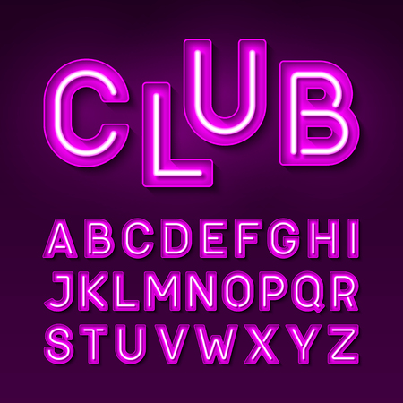 case: Broadway night club vintage style neon font
