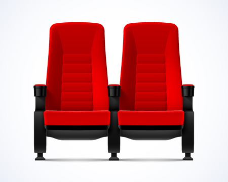 exclusive: Cinema movie theater red comfortable chairs Illustration