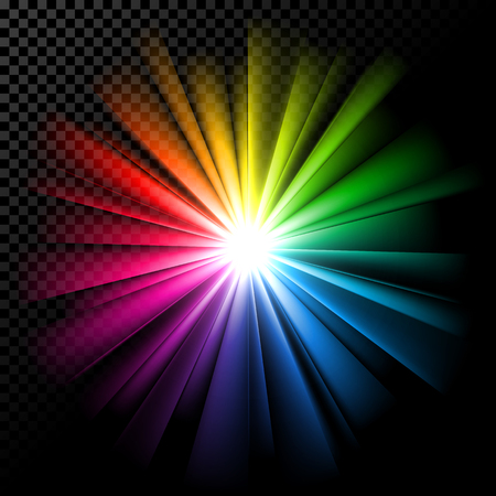 Multicolor rainbow rays, glowing color spectrum vector illustration