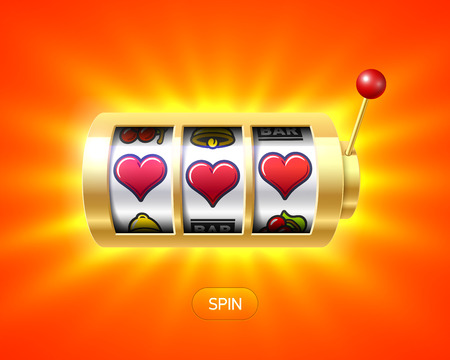 rueda de la fortuna: Tres símbolos del corazón en la máquina de ranura de un solo brazo bandido de oro, el concepto de día de San Valentín