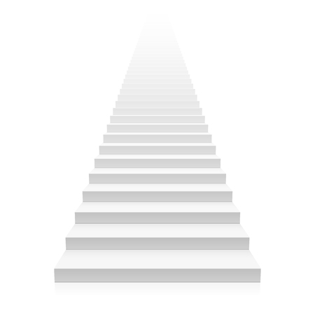 white background: White straight staircase stretches to infinity