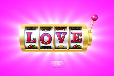 Liefdeswoord op gouden slotmachine Stock Illustratie