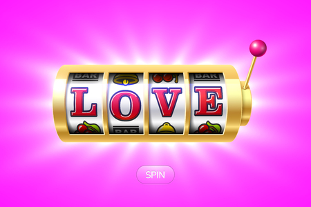 Love word on gold slot machine Imagens - 70736590