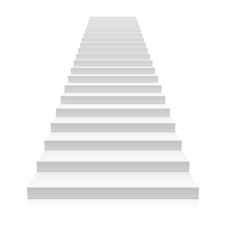 white background: Front view of white staircase