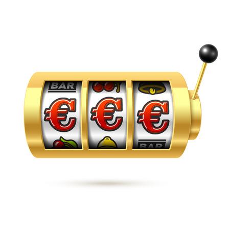 Máquina tragaperras con premio en euros Vectores
