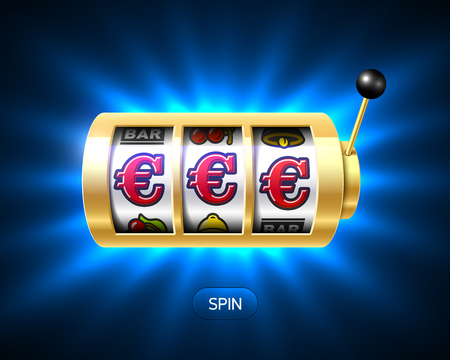Slot machine with euro jackpot on bright background Illustration