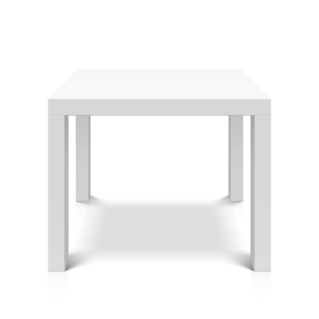 contemporary: White empty square table