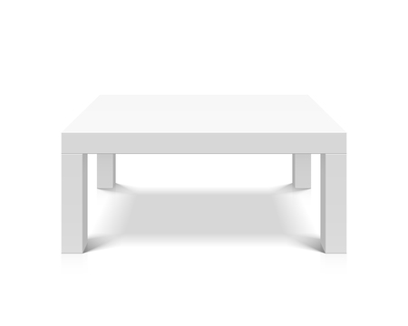 large: White empty square table illustration