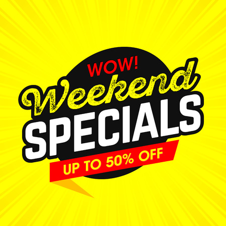 modern background: Wow! Weekend Specials bright banner