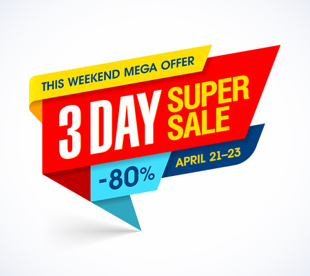 big: Three days super sale special offer banner Illustration