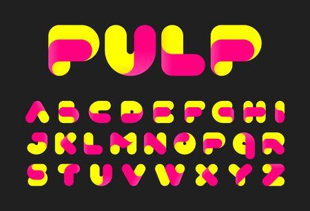 Stylised twisted pulp font Illustration