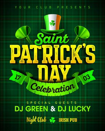 saint: Saint Patricks Day celebration party invitation poster design with bright vintage lettering. Illustration
