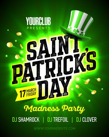 17 March Saint Patricks Day madness party poster. Illustration