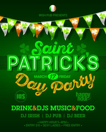 patrick: Saint Patricks Day party invitation poster. Illustration