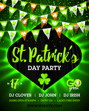 17 March Saint Patricks Day party bright invitation poster design
