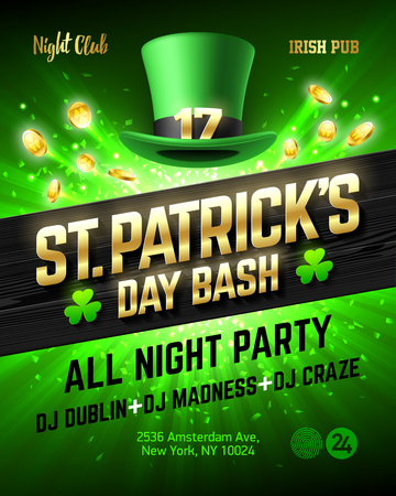 Saint Patricks Day bash celebration poster design, 17 March all night party nightclub invitation with leprechaun hat, gold lettering, coins on bright shining green background