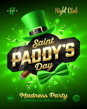 Diseño del cartel del partido del día del arroz del santo, 17 de marzo, invitación del club nocturno del día de Patrick con el sombrero del leprechaun, las letras del oro, las flámulas del partido, la pajarita verde y el cigarro ardiendo en fondo verde brillante brillante Vectores