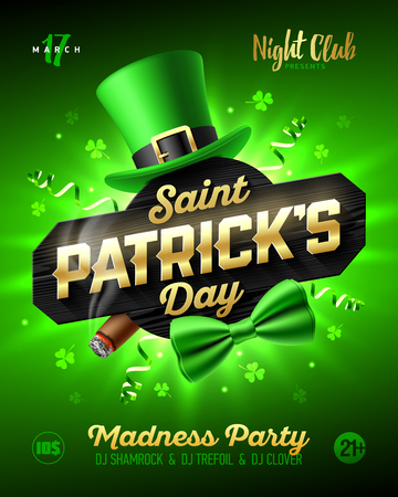 Saint Patricks Day party poster design, 17 March nightclub invitation with leprechaun hat, gold lettering, party streamers, green bow tie and smouldering cigar on bright shining green background