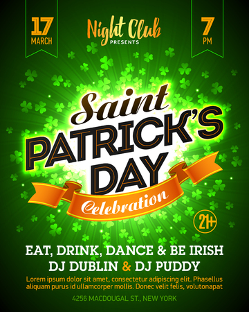 march 17: Saint Patricks Day party banner design. 17 March nightclub invitation with lettering on bright green clover background