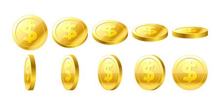 Gold 3D coins set Vectores