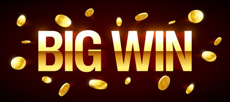 sign: Big Win gambling games banner with big win inscription and gold explosion of coins around