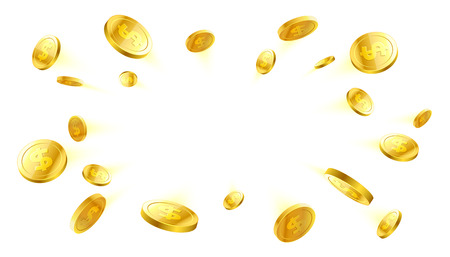 Explosion of gold coins with place for text on white background