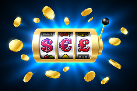 shiny metal: Dollar, Euro and Pound currency symbols on slot machine. Gambling games, casino banner with bright blue background and flying coins around