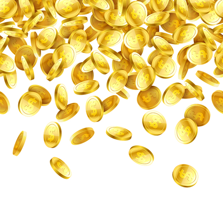 Gold falling 3D coins on white background, horizontally seamless illustration Stock Illustratie