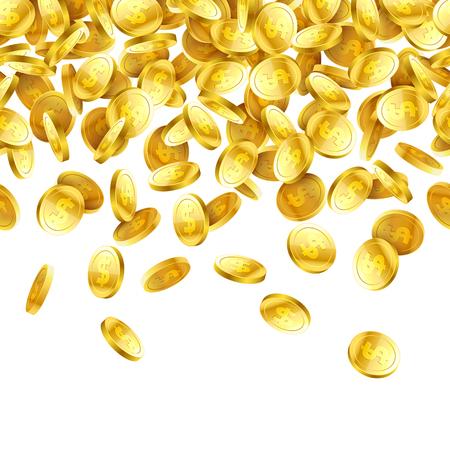 Gold falling 3D coins on white background, horizontally seamless illustration Illustration